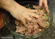Manti Meat Mixture Mixing
